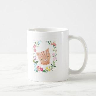 Cute Orange Tabby Cat Floral Cat Lover Mug By MiKa