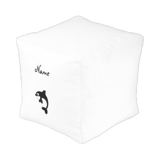 Cute orca whale cube pouf