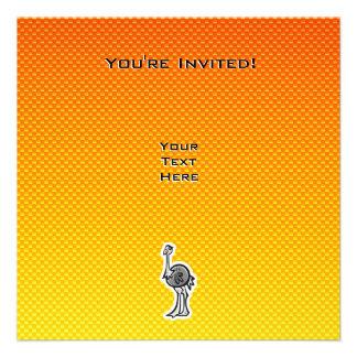 Cute Ostrich; Yellow Orange Custom Announcements