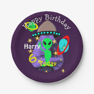 Cute outer Space Alien Themed Birthday Party Paper Plate