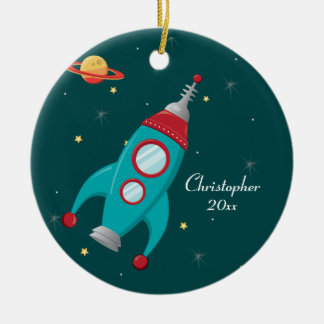 Cute outer space rocket ship personalized ornament
