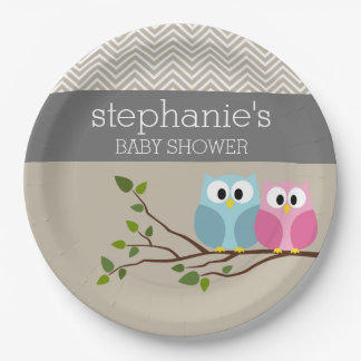 Cute Owl Baby Girl or Boy Gender Reveal Shower 9 Inch Paper Plate