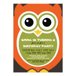 Cute Owl Bird Birthday Invitation Card Orange