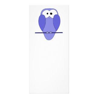 Cute Owl Cartoon. Blue. Rack Card
