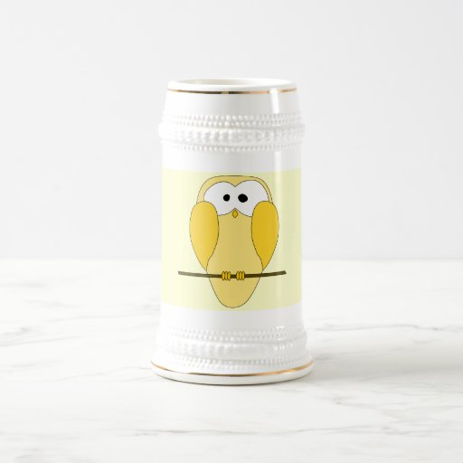 Cute Owl Cartoon. Yellow. Coffee Mugs