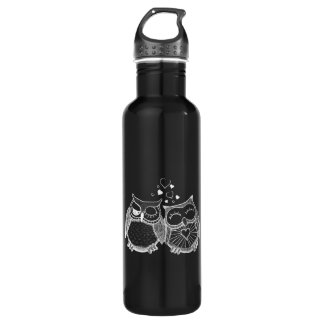 Cute owl couple 710 ml water bottle
