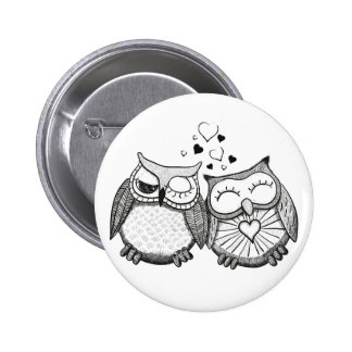 Cute owl couple buttons