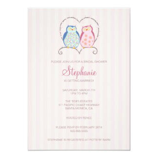 Cute Owl Couple Bridal Shower Invitation