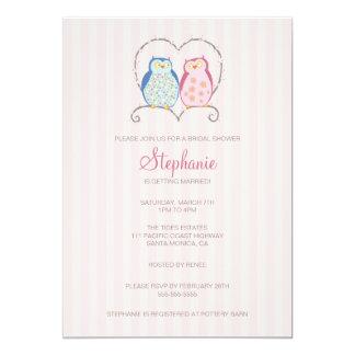 Cute Owl Couple Bridal Shower Invitation