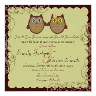 Cute owl couple brown theme wedding invitations