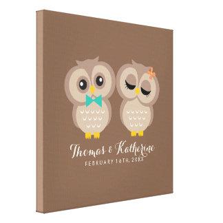 Cute Owl Couple Canvas Print