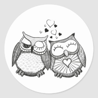Cute owl couple classic round sticker