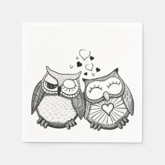Cute owl couple disposable napkin