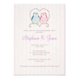 Cute Owl Couple Engagement Party Invitation