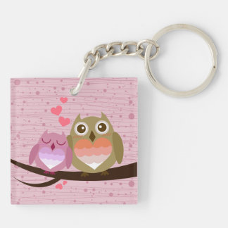 Cute Owl Couple Full of Love Heart Double-Sided Square Acrylic Key Ring