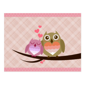 Cute Owl Couple Full of Love Heart Invitation Post Card