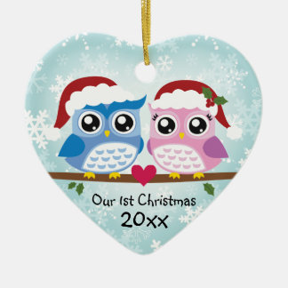 Cute Owl Couple Heart Ornament