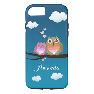 Cute Owl Couple Love Hearts Monogram Name iPhone 7 Case
