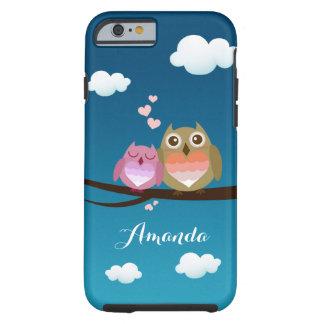 Cute Owl Couple Love Hearts Monogram Name Tough iPhone 6 Case