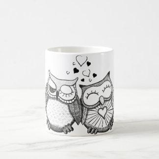 Cute owl couple basic white mug