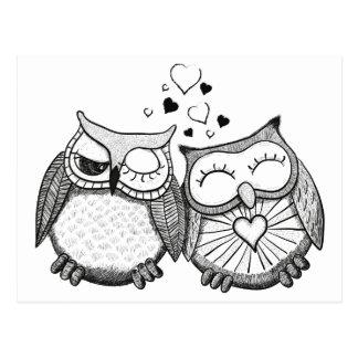 Cute owl couple postcards