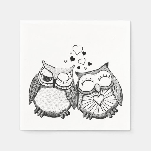 Cute owl couple disposable napkin