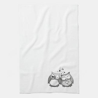 Cute owl couple kitchen towels