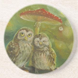 Cute Owl Couple under the Mushroom Beverage Coaster