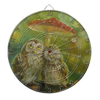 Cute Owl Couple under the Mushroom Dartboard With Darts
