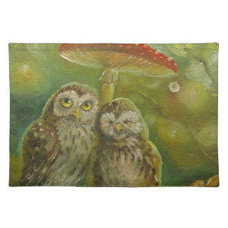 Cute Owl Couple under the Mushroom Placemat