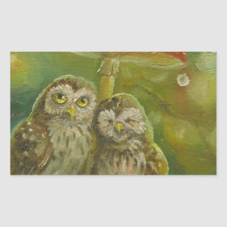 Cute Owl Couple under the Mushroom Rectangular Sticker