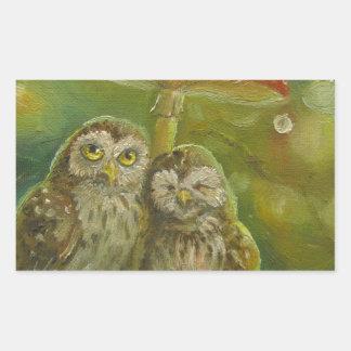 Cute Owl Couple under the Mushroom Rectangular Sticker
