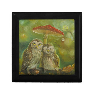 Cute Owl Couple under the Mushroom Small Square Gift Box