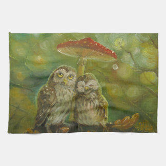 Cute Owl Couple under the Mushroom Towels