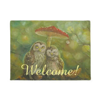 Cute owl couple welcome doormat