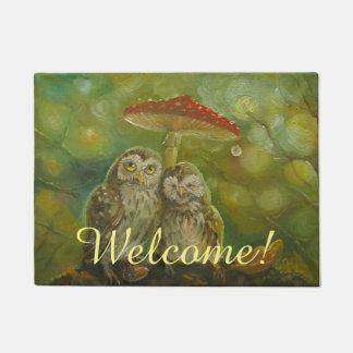 Cute owl couple welcome doormat