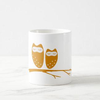 Cute owl couple with hearts basic white mug