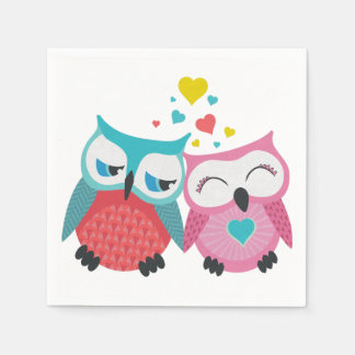 Cute owl couple with hearts disposable napkins