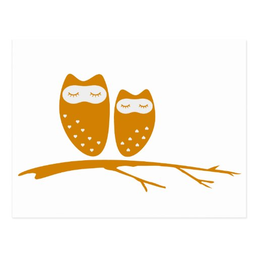 Cute owl couple with hearts post cards