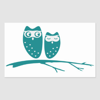 Cute owl couple with hearts rectangular sticker