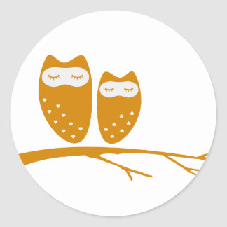 Cute owl couple with hearts stickers