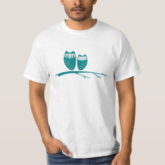 Cute owl couple with hearts t-shirts
