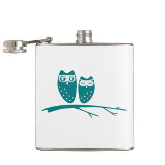 Cute owl couple with hearts flask