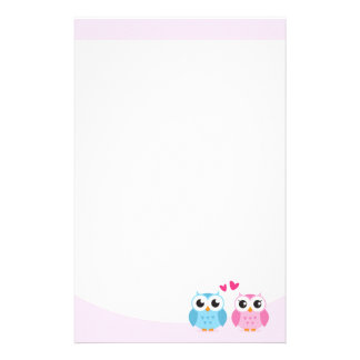 Cute owl couple with pink love hearts stationery design
