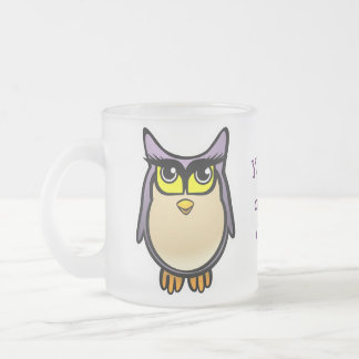 Cute Owl Frosted Glass Mug