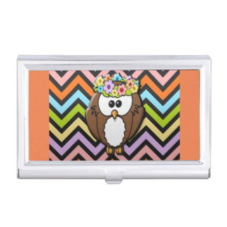 Cute Owl in Boho Floral Headpiece on Chevron Business Card Holder