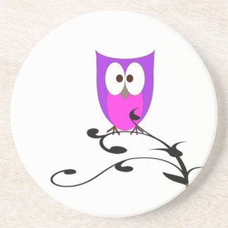 Cute Owl on a Branch Coaster