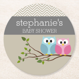 Cute Owl on Branch Baby Girl or Boy Shower Round Paper Coaster