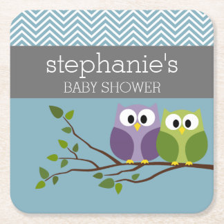 Cute Owl on Branch - Blue Baby Boy Shower Square Paper Coaster