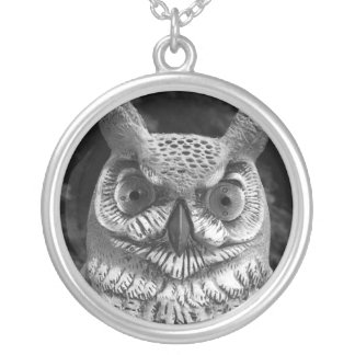 Cute Owl Statue Silver Plated Necklace